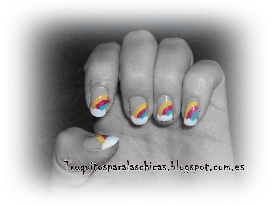 hacer una manicura arcoiris