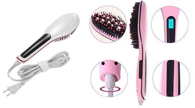 cepillo alisador pelo blanco y rosa