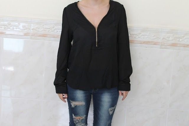 camisa negra escote trendsgal