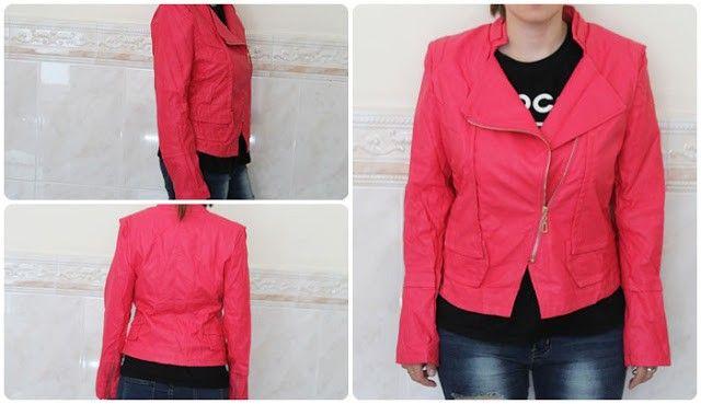chaqueta rosa cuero trendsgal